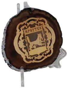 Срез агата с изображением Герба Иркутской области