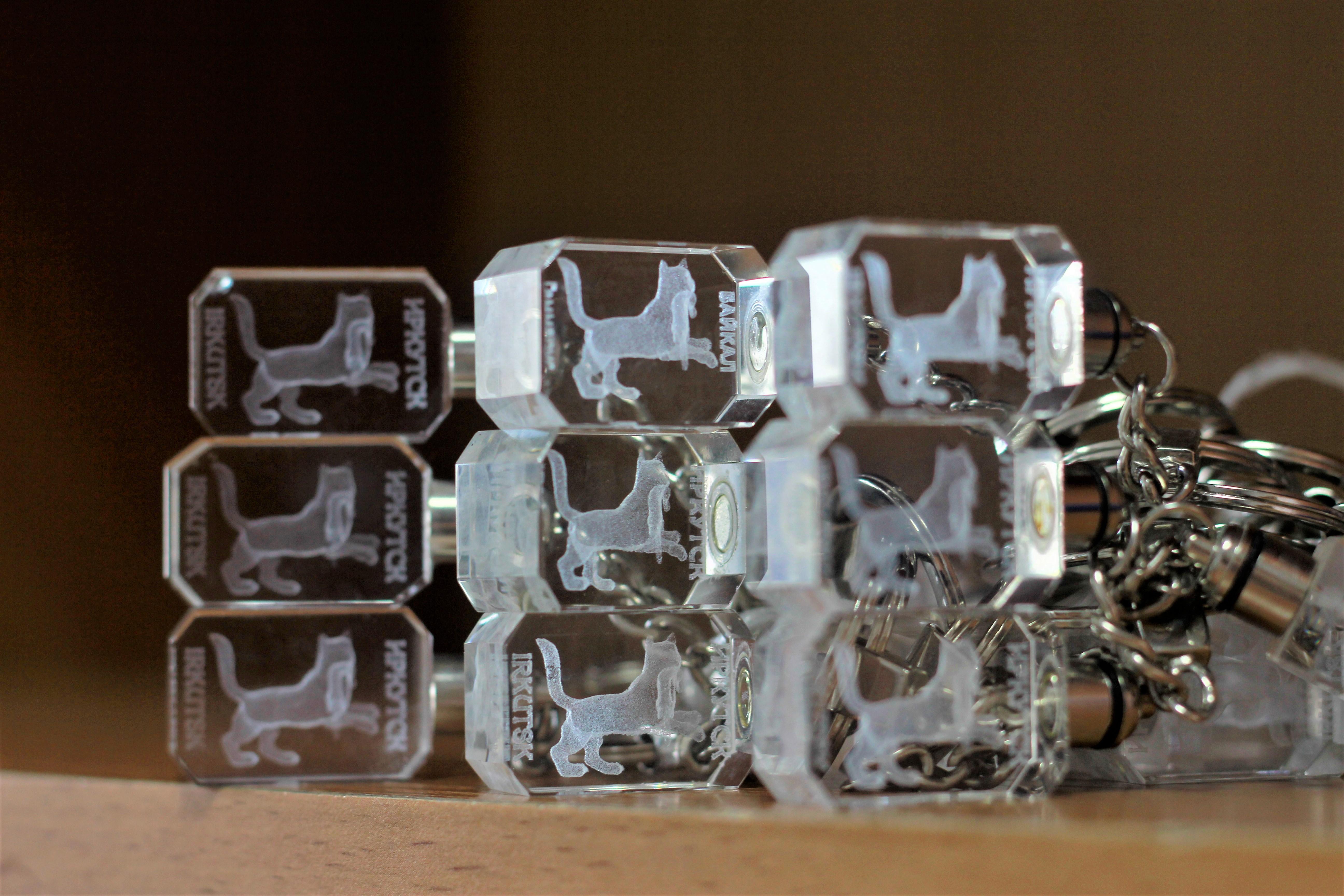 """Брелоки - кристалл с лазерной гравировкой """"Бабр"""""""
